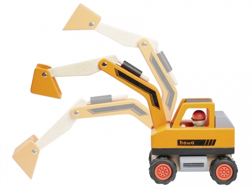 RoadWorks with wooden Excavator, Dump Druck and 12 pcs. construction Set