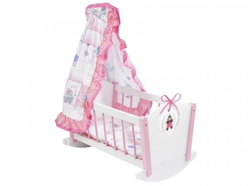 howa Dolls furniture Lovely Clown - Dolls cradle and Dolls warderobe white / pink