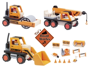 RoadWorks with wooden Bulldozer, Road Roller, Crane Truck, and 12 pcs. construction Set