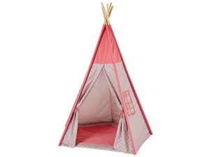 Teepee, Play tent stars rose / gray with floor mat