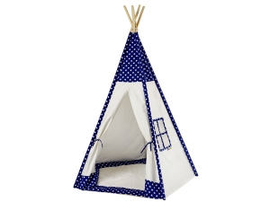 Teepee, Play tent stars white / blue with floor mat