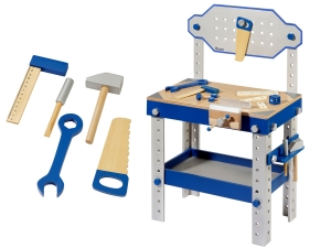 Wooden kids workbench with 80 pcs. accessories and 5 tools 4903