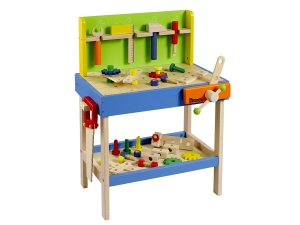 Wooden Profi kids workbench with 45 pcs. accessories and 5 tools 4904