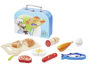 Wooden cutting food set with case 4875